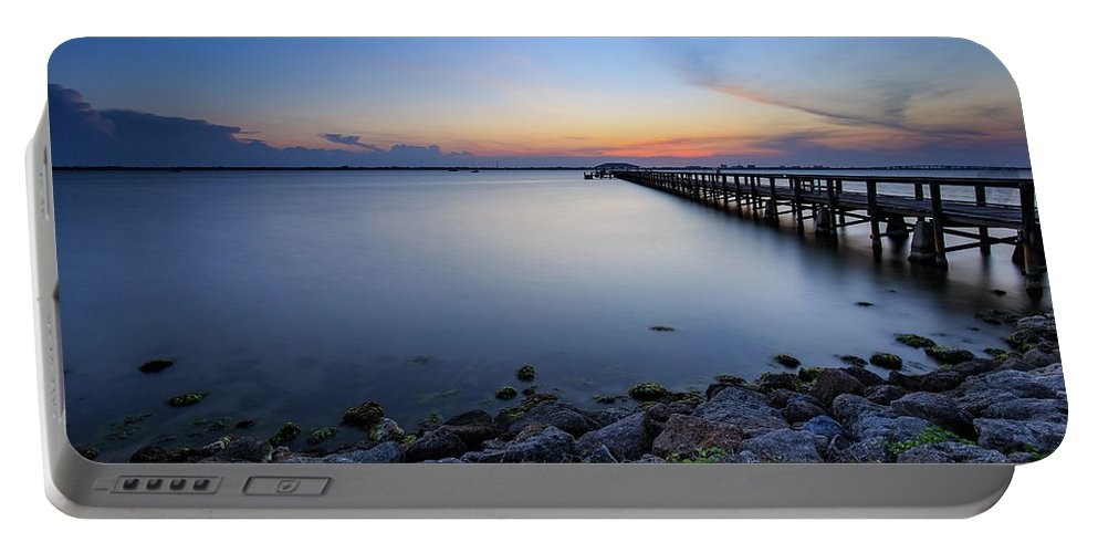 Melbourne Beach Pier Portable Battery Charger featuring the photograph Melbourne Beach Pier Sunset by Stefan Mazzola