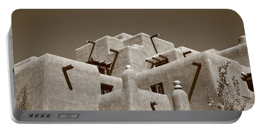 66 Portable Battery Charger featuring the photograph Santa Fe - Adobe Building by Frank Romeo