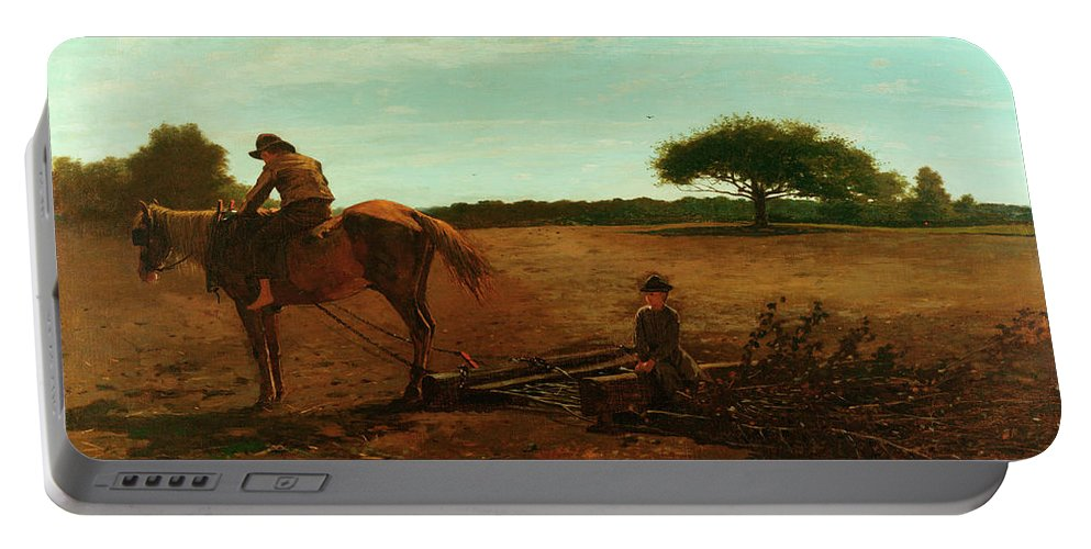 The Brush Harrow Portable Battery Charger featuring the painting The Brush Harrow by Winslow Homer