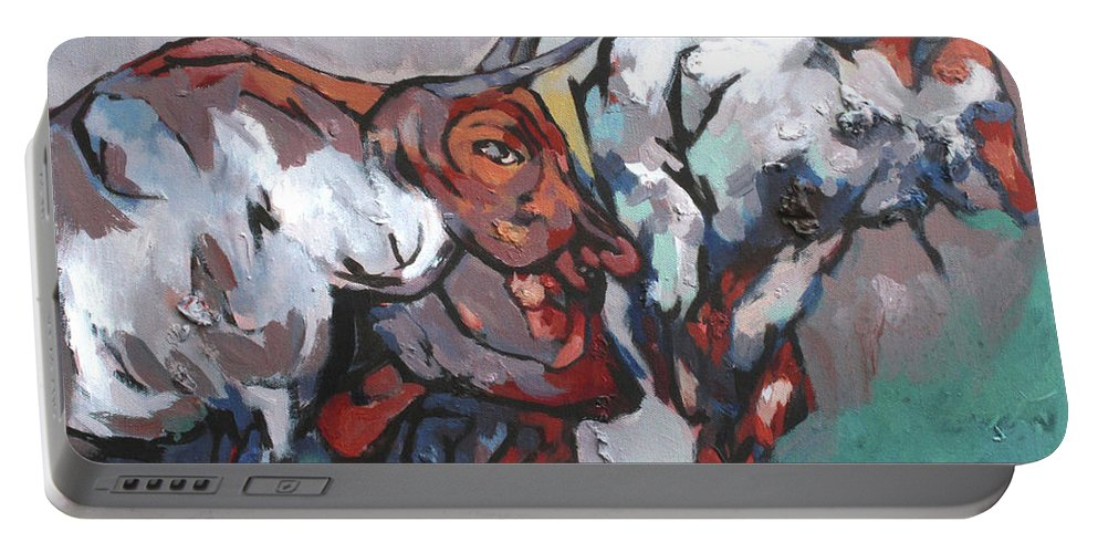 Portable Battery Charger featuring the painting The Bulls by Padam Ghale