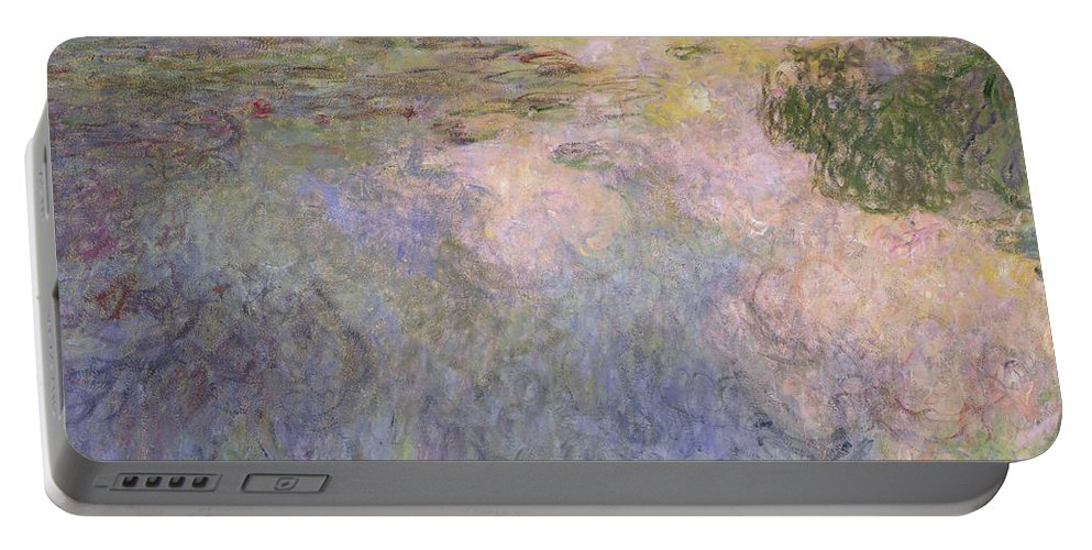 Monet Portable Battery Charger featuring the painting The Waterlily Pond by Claude Monet