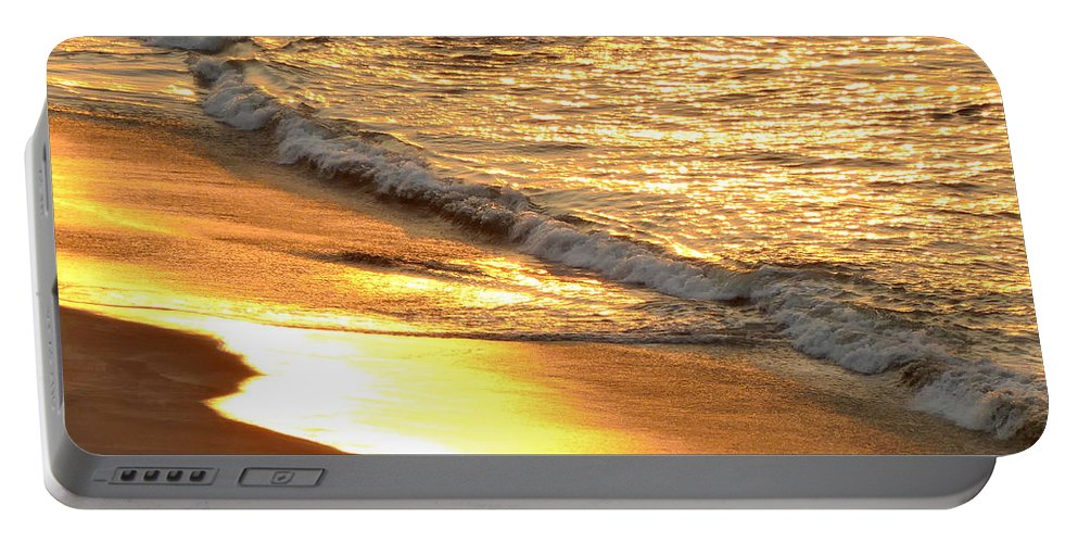 To Come Portable Battery Charger featuring the photograph Black Sand 1 by Aline Halle-Gilbert