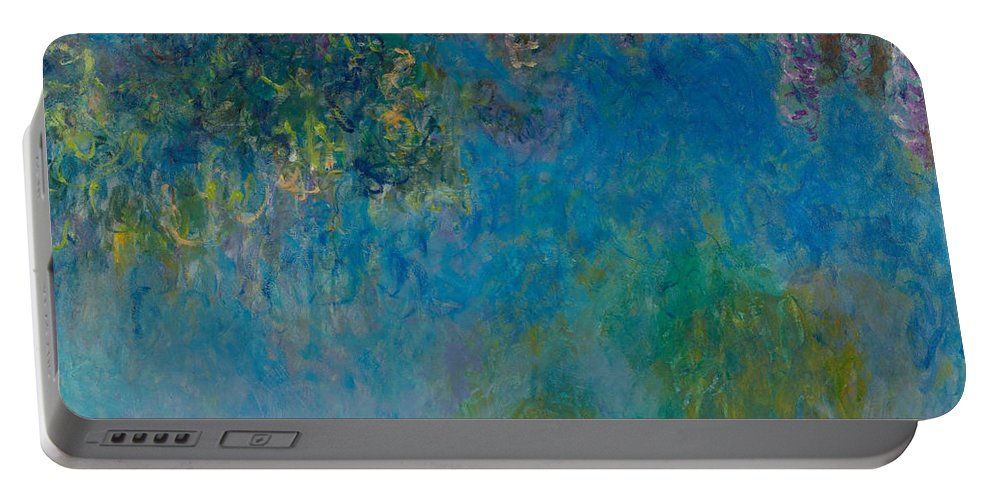 Claude Monet Portable Battery Charger featuring the painting Wisteria by Claude Monet