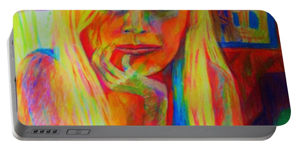 Woman Color Indoors Portable Battery Charger featuring the painting Janas by B Janas
