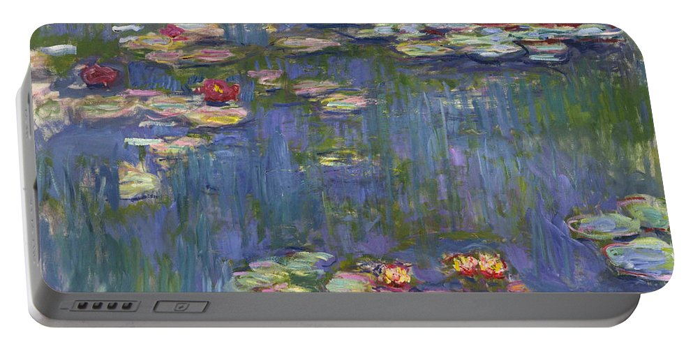 Claude Monet Portable Battery Charger featuring the painting Water Lilies by Claude Monet