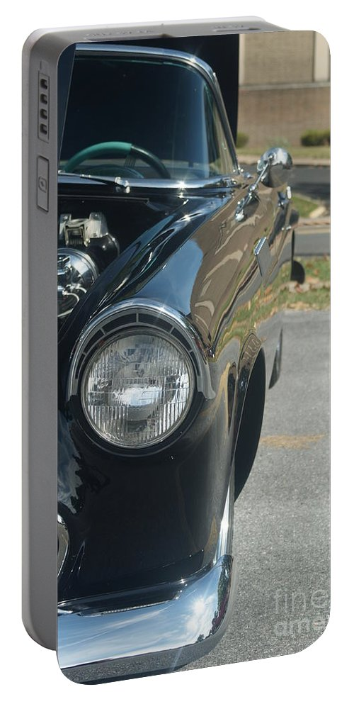Black Portable Battery Charger featuring the photograph 55 Thunderbird Front And Side by Rob Luzier