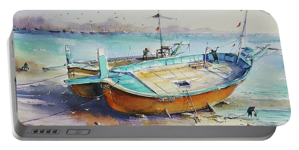 Send Portable Battery Charger featuring the painting Seascape by Momin Khan