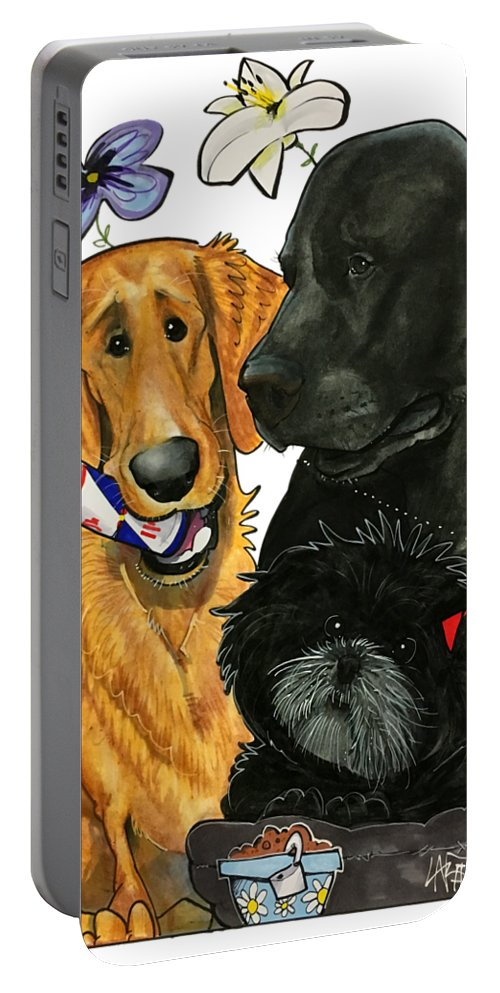 Pet Portrait Portable Battery Charger featuring the drawing 7-1396 Scallon 7 by John LaFree