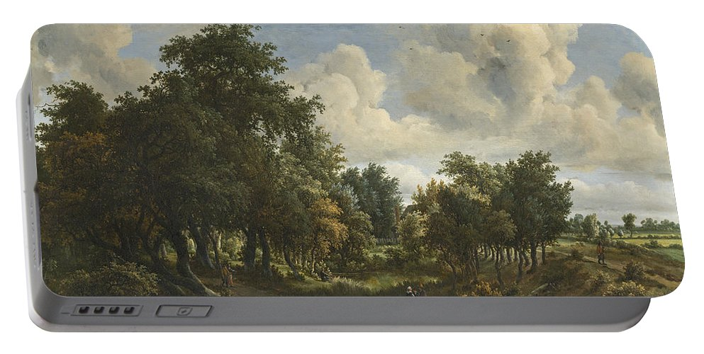 Meindert Hobbema Portable Battery Charger featuring the painting A Wooded Landscape by Meindert Hobbema