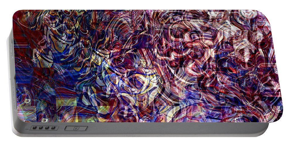 Abstract Green Yellow Red White Blue Portable Battery Charger featuring the digital art Abstract by Galeria Trompiz