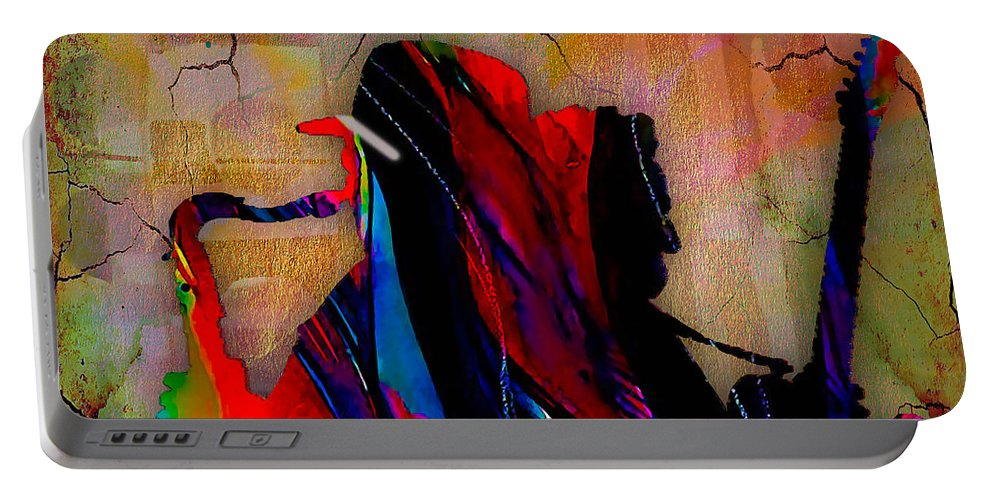Bruce Springsteen Art Portable Battery Charger featuring the mixed media Bruce Springsteen Collection by Marvin Blaine