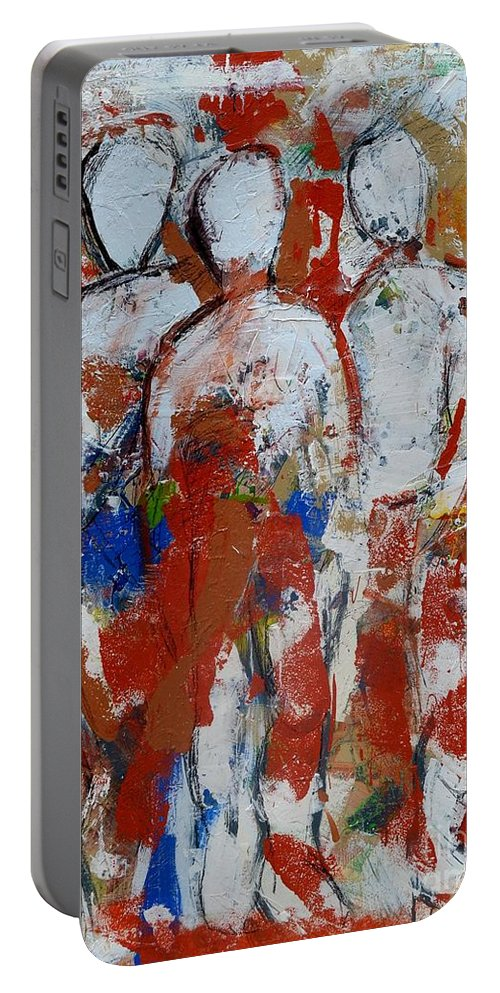 Figurative Portable Battery Charger featuring the painting Challenge 2017 Save Europe Www.gracedivine.com by Grace Divine