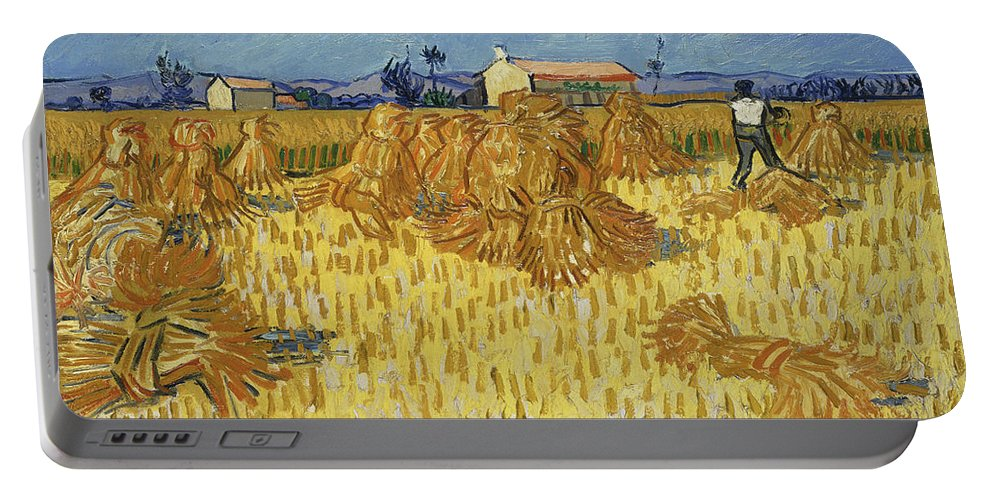 Vincent Van Gogh Portable Battery Charger featuring the painting Corn Harvest In Provence by Vincent Van Gogh