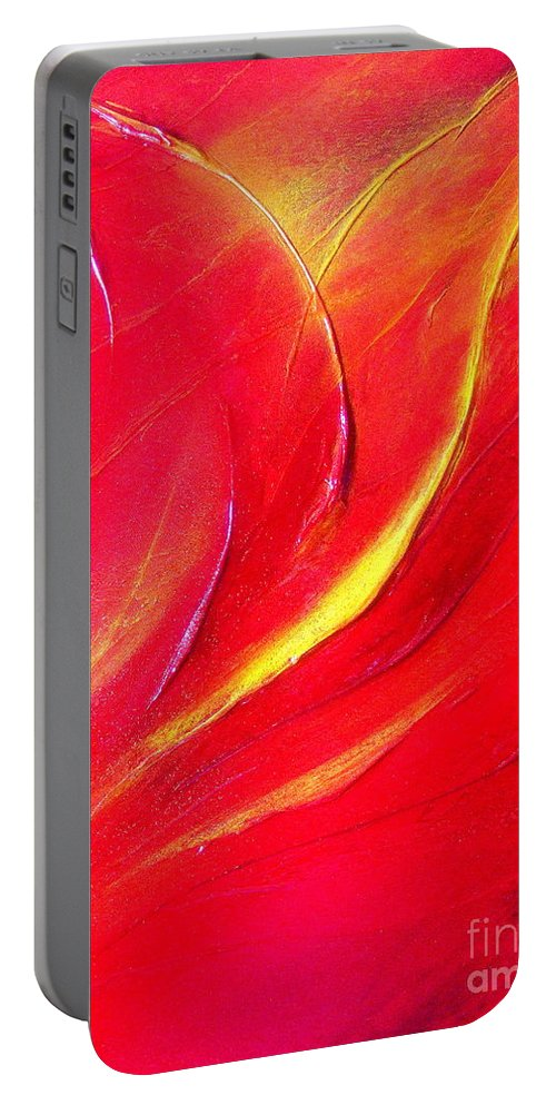 Energy.sunrise.light.brilliant.crystal Portable Battery Charger featuring the painting Energy by Kumiko Mayer