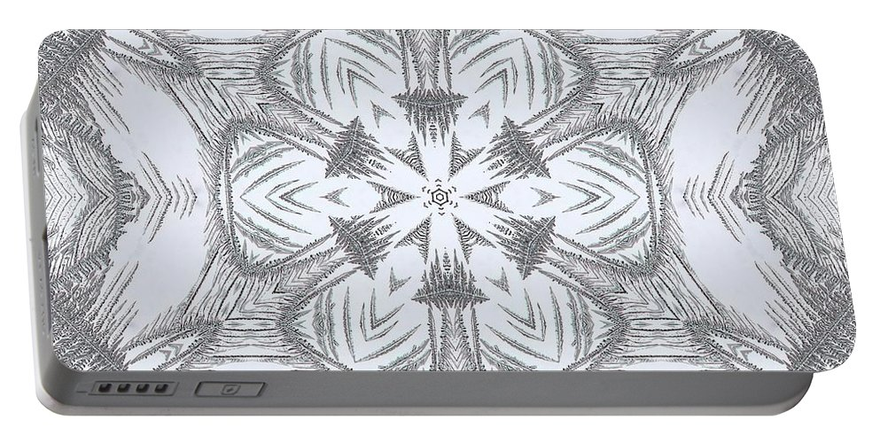 Mccombie Portable Battery Charger featuring the digital art Fern Frost Mandala by J McCombie