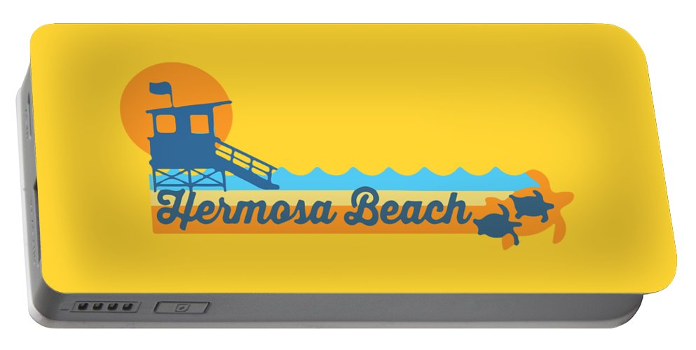 Hermosa Beach Portable Battery Charger featuring the digital art Hermosa Beach. by American Roadside