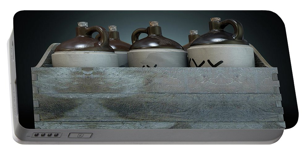 Jug Portable Battery Charger featuring the digital art Moonshine In Wooden Crate by Allan Swart