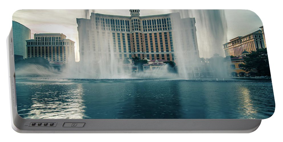 Hotel Portable Battery Charger featuring the photograph November 2017 Las Vegas Nv - Hotels And Restaurants On Las Vegas by Alex Grichenko
