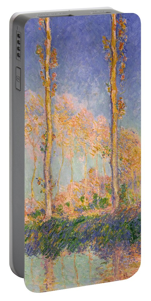 Claude Monet Portable Battery Charger featuring the painting Poplars by Claude Monet