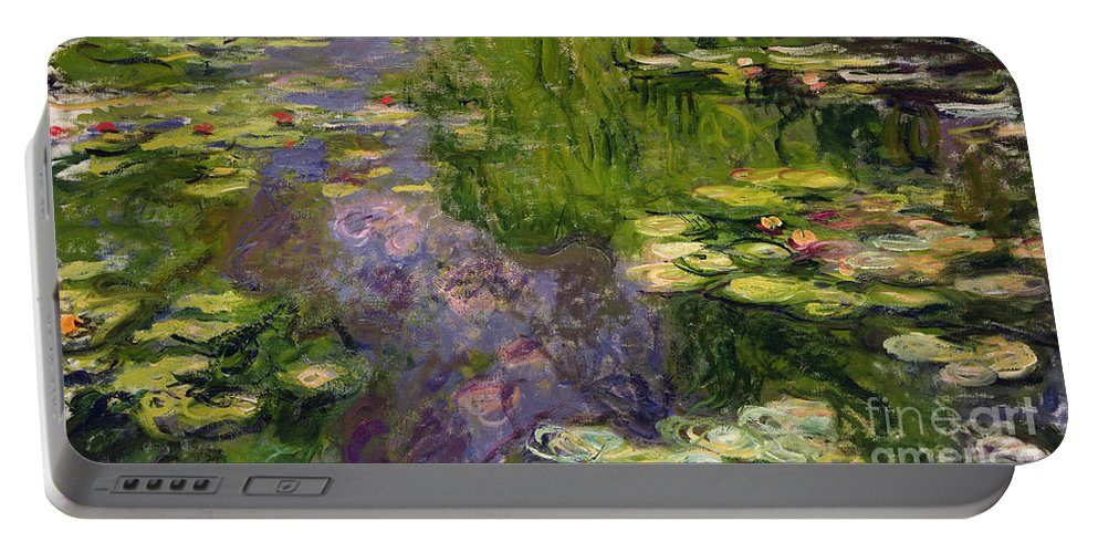 Nympheas; Water; Lily; Waterlily; Impressionist; Green; Purple Portable Battery Charger featuring the painting Waterlilies by Claude Monet