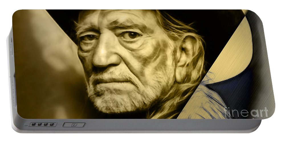 Willie Nelson Portable Battery Charger featuring the mixed media Willie Nelson Collection by Marvin Blaine
