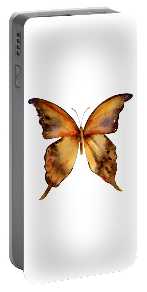 Yellow Portable Battery Charger featuring the painting 7 Yellow Gorgon Butterfly by Amy Kirkpatrick