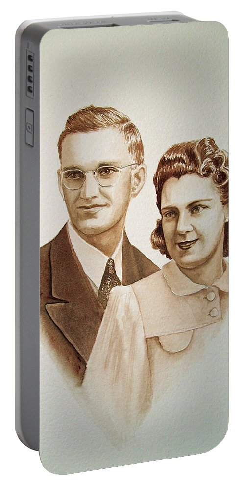 Anniversary Portable Battery Charger featuring the painting 70 Years Together by Irina Sztukowski