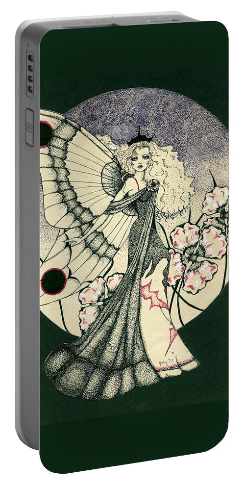 70's Style Portable Battery Charger featuring the drawing 70's Angel by V Boge