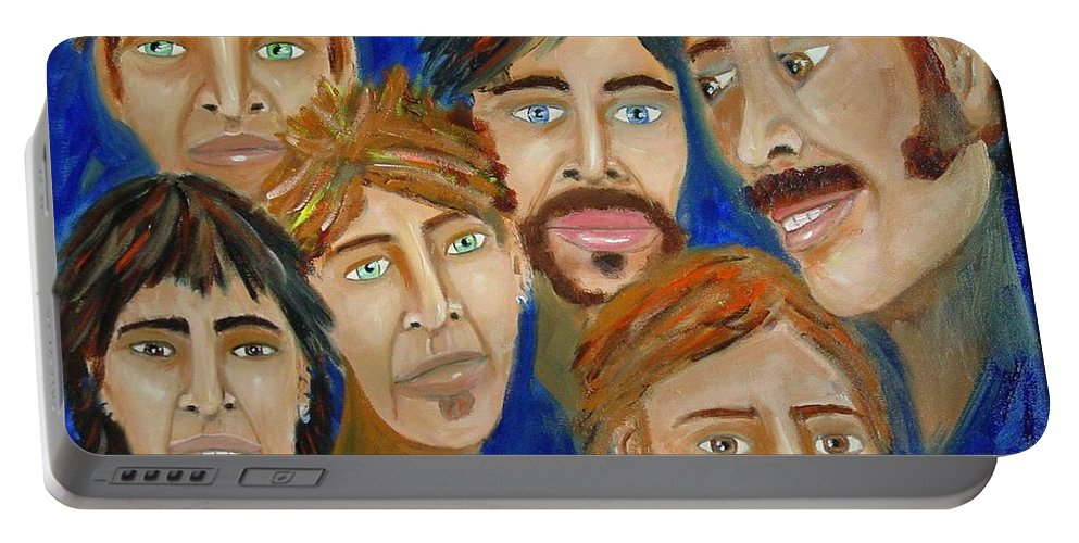 Portrait Portable Battery Charger featuring the painting 70s Band Reunion by Laurie Morgan