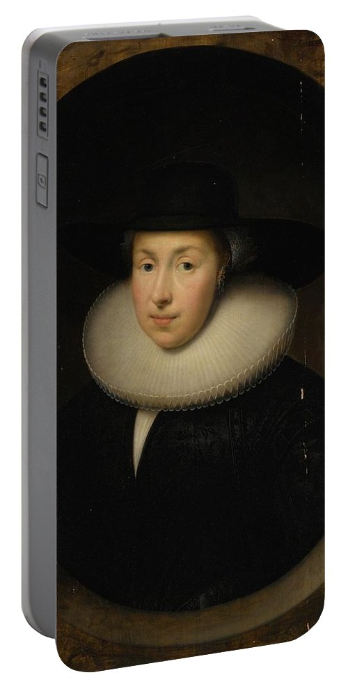 Cornelis Jonson Van Ceulen Portrait Of A Lady Portable Battery Charger featuring the painting Portrait Of A Lady by MotionAge Designs