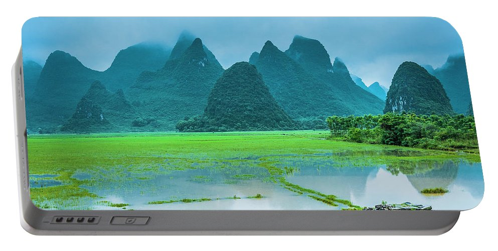 Karst Portable Battery Charger featuring the photograph Karst Rural Scenery In Raining by Carl Ning