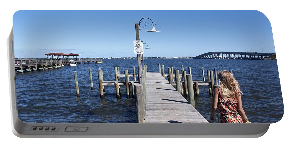 Girl Portable Battery Charger featuring the photograph Indian River Lagoon At Eau Gallie In Florida Usa by Allan Hughes