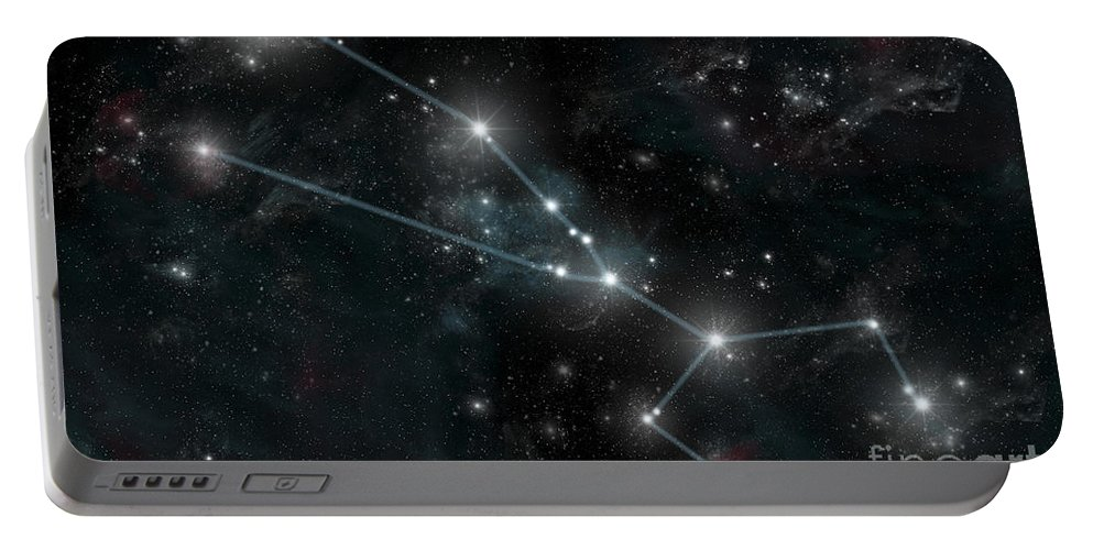 Aldebaran Portable Battery Charger featuring the digital art Artists Depiction Of The Constellation by Marc Ward