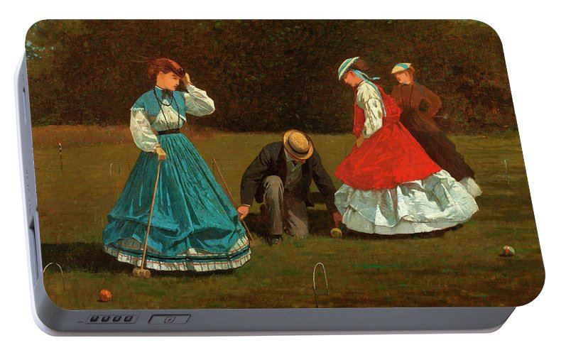 Croquet Scene Portable Battery Charger featuring the painting Croquet Scene by Winslow Homer