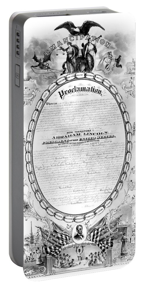 1868 Portable Battery Charger featuring the photograph Emancipation Proclamation by Granger
