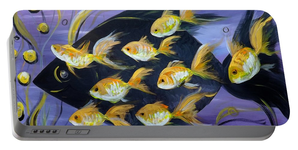 Fish Portable Battery Charger featuring the painting 8 Gold Fish by Gina De Gorna