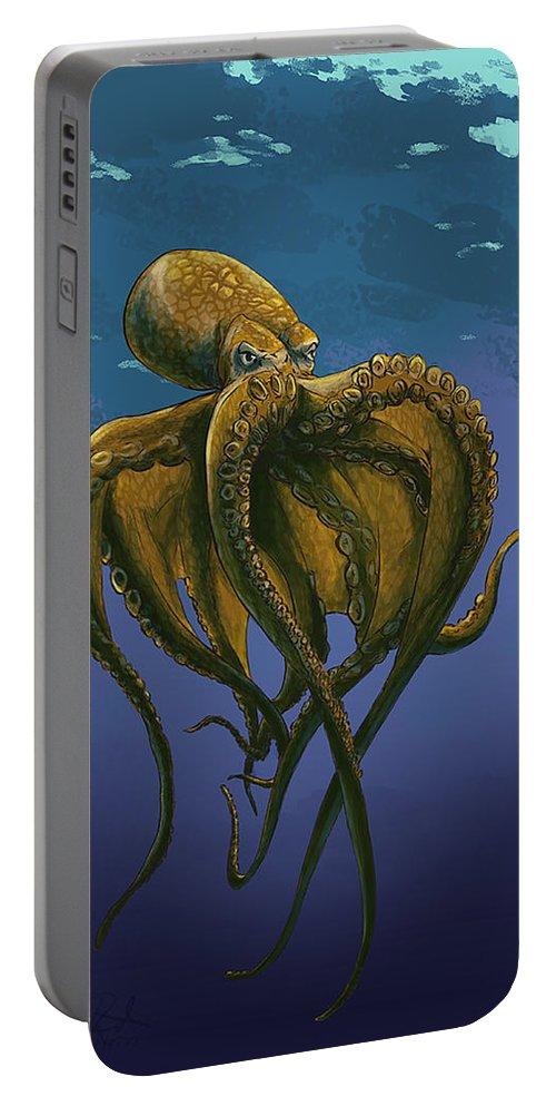 Sea Creature Portable Battery Charger featuring the digital art 8 Legs Of The Sea by Andrew Reinhart