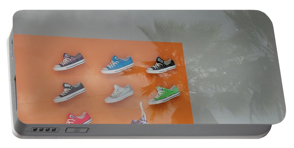 Orange Portable Battery Charger featuring the photograph 8 Sneakers by Rob Hans