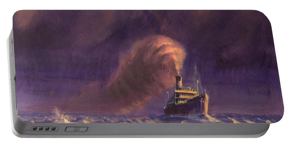 Ship Portable Battery Charger featuring the painting 8000 Miles From Home by Christopher Jenkins