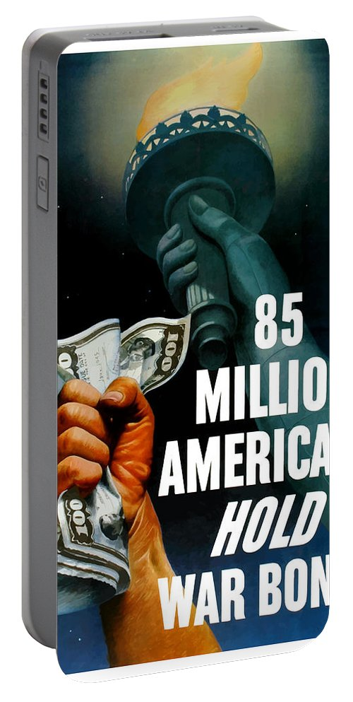 Statue Of Liberty Portable Battery Charger featuring the painting 85 Million Americans Hold War Bonds by War Is Hell Store