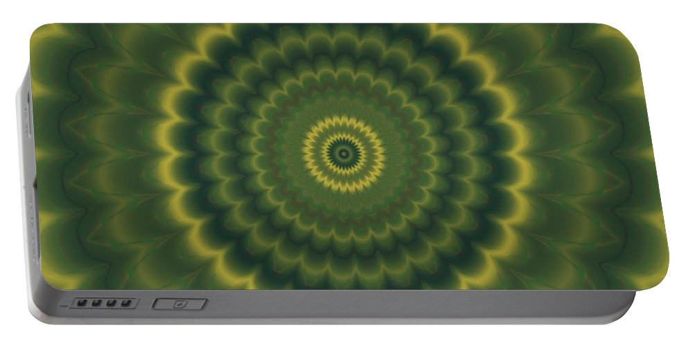 Psycho Portable Battery Charger featuring the digital art Psycho Hypno Floral Pattern by Miroslav Nemecek