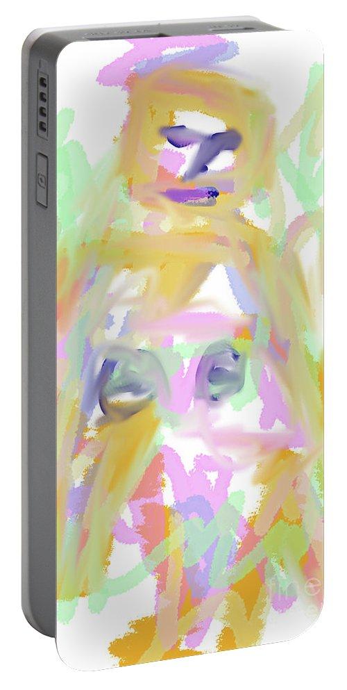 Walter Paul Bebirian Portable Battery Charger featuring the digital art 9-11-2057a by Walter Paul Bebirian