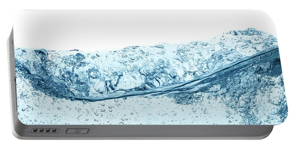 Water Portable Battery Charger featuring the photograph Blue Water Wave Abstract Background by IPolyPhoto Art