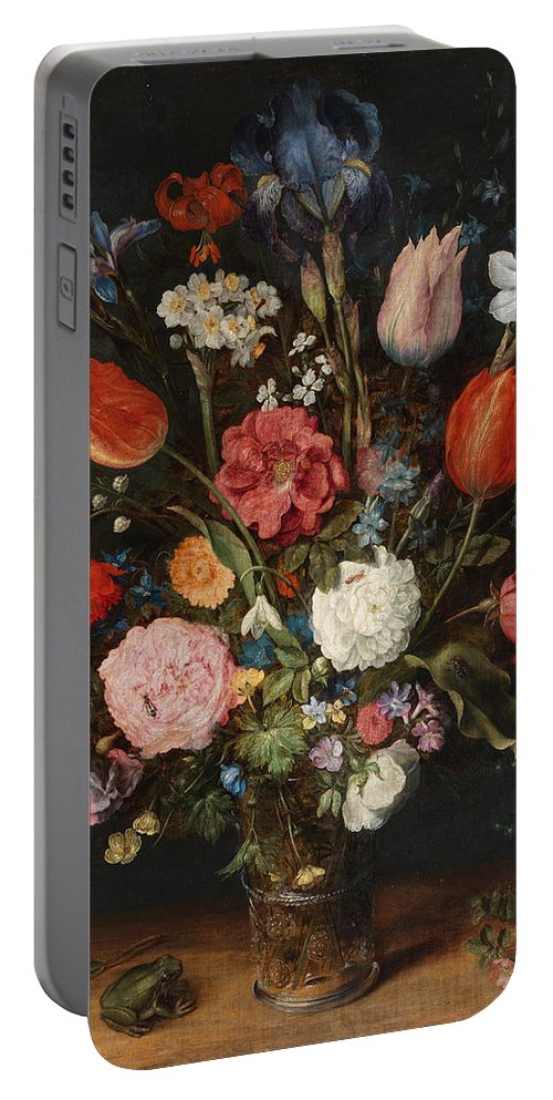 Animal Portable Battery Charger featuring the painting Flower Vase by Jan Brueghel the Elder