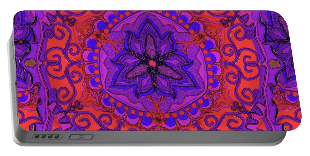 India Portable Battery Charger featuring the digital art Indian Fabric Pattern by Sandrine Kespi