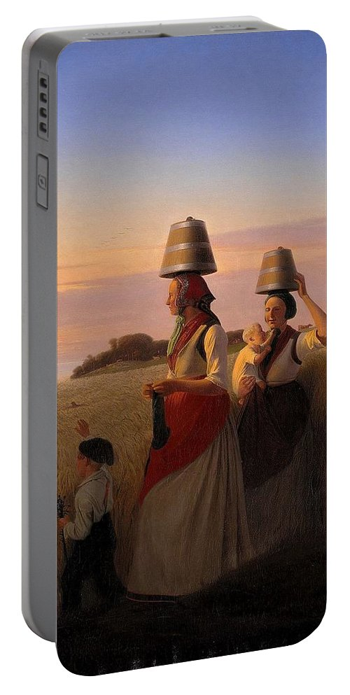 Jorgen Sonne (1801-90) - Rural Scene. (1848) Portable Battery Charger featuring the painting Rural Scene by Jorgen Sonne