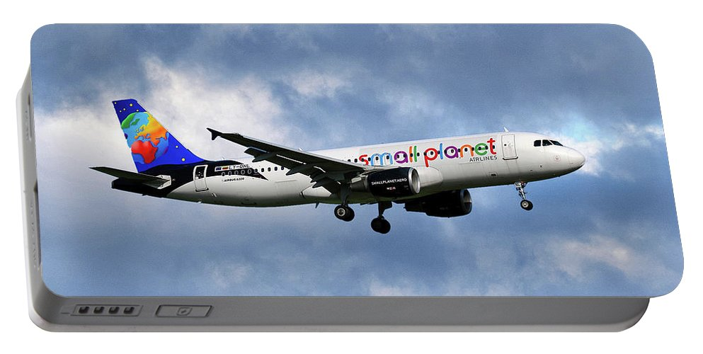 Small Planet Portable Battery Charger featuring the photograph Small Planet Airlines Airbus A320-214 by Smart Aviation