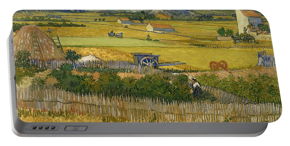 Country Portable Battery Charger featuring the painting The Harvest by Vincent van Gogh
