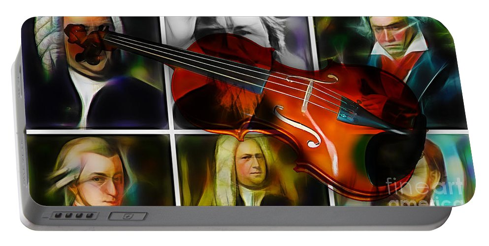 Violin Portable Battery Charger featuring the mixed media Violin Collection by Marvin Blaine