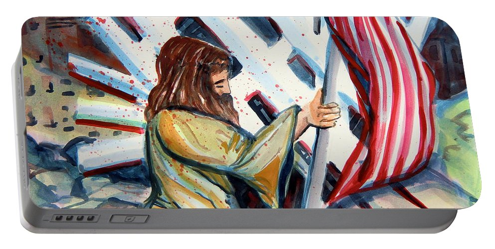 911 Portable Battery Charger featuring the painting 911 Cries For Jesus by Mindy Newman